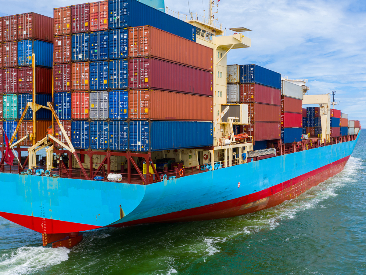 Container Ship Working At Industrial Port, Business Import And E